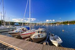 Baltic sea marina with yachts. In the summer, Sweden Royalty Free Stock Photos