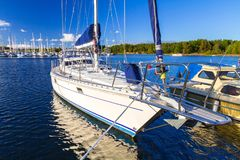 Baltic sea marina with yachts. In the summer, Sweden Royalty Free Stock Image