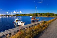 Baltic sea marina with yachts. In the summer, Sweden Stock Photo