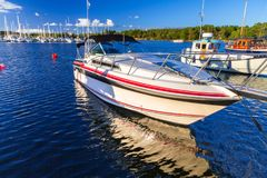 Baltic sea marina with yachts. In the summer, Sweden Stock Photography