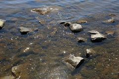 Shallow Sea with Small Waves and Rocks. Baltic Sea photographed in Finland during a sunny spring / summer day. You can see some sea water with small waves and royalty free stock photography