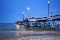 Baltic Sea pier in Gdansk at dusk. Poland Royalty Free Stock Photo