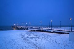 Baltic Sea pier in Gdansk at dusk. Poland Royalty Free Stock Image