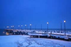 Baltic Sea pier in Gdansk at dusk. Poland Stock Images