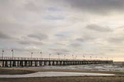 Baltic sea and pier in gdynia orlowo in poland in the autumn, europe Stock Photography