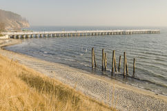 Baltic sea and pier in gdynia orlowo in poland in the winter, europe Royalty Free Stock Photos