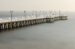 Baltic sea and pier in gdynia orlowo in poland in the winter, europe Royalty Free Stock Photo