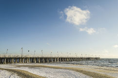 Baltic sea and pier in gdynia orlowo in poland in the winter, europe Royalty Free Stock Image