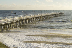 Baltic sea and pier in gdynia orlowo in poland in the winter, europe Stock Photo