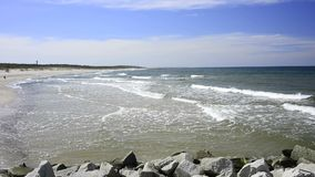 Baltic Sea in Poland, beach of Ustka stock video footage