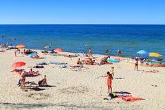 Baltic sea sandy beach in Kulikovo. KULIKOVO, RUSSIA — JULY 19, 2014: Baltic sea sandy beach in Kulikovo, Kaliningrad region Royalty Free Stock Images