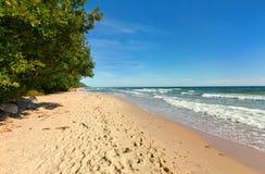 Baltic Sea with sandy beach. Swedish side of Baltic Sea with sandy beach Stock Photo