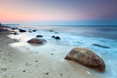 Baltic sea scenery at sunset. Poland Royalty Free Stock Photo