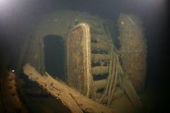 Baltic Sea Ship Wreck photo underwater. Baltic Sea underwater diving Ship Wreck photo stock photo