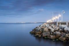 The Baltic Sea shore. Harbor called Marina at the end of Sopot pier, Poland stock image