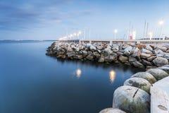 The Baltic Sea shore. Harbor called Marina at the end of Sopot pier, Poland royalty free stock photos