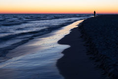 Baltic sea shore after sunset Royalty Free Stock Photo