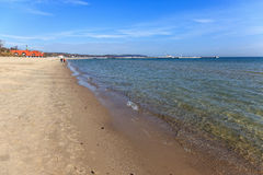 Baltic Sea and Sopot. Baltic Sea on the background of the pier in Sopot, Poland stock photography