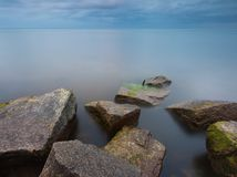 Baltic sea stone breakwater Royalty Free Stock Photography