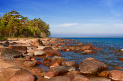 Baltic sea, stones, and sand beach. Royalty Free Stock Photography