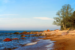 Baltic sea, stones, and sand beach. Stock Image