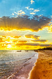 Baltic sea and sun. The sun and the Baltic sea in the morning stock image
