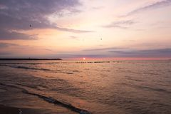 Baltic Sea sunset, Poland Royalty Free Stock Photography
