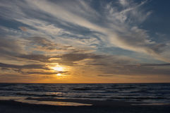 Baltic sea at sunset time, Poland, Leba. Royalty Free Stock Image