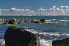 Baltic sea with Tallinn cityscape on background Stock Photography