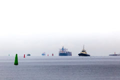 Baltic sea transport vessels at cloudy day Stock Photo