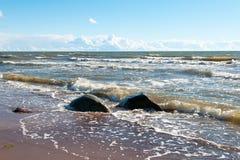 Baltic Sea. Sea Waves Breaking on the Shore, Karkle beach, Klaipeda, Lithuania Stock Images