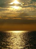 Baltic Sea on the west. Sunset on the Baltic Sea as seen from the ferry Royalty Free Stock Photos