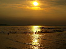 Baltic Sea on the west. Sunset on the beach in Swinoujscie Royalty Free Stock Photos