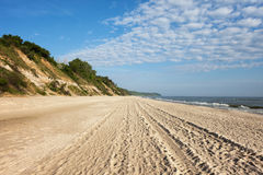Baltic Sea Wide Sandy Beach in Chlapowo Royalty Free Stock Image