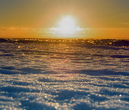 Ice hummocks plays colors of rainbow in direct sunlight. Baltic sea in winter. Fresh ice hummocks and cracks in ice edge Royalty Free Stock Photos