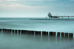 Baltic Sea at Zingst with pier and breakwaters. Baltic Sea at Zingst, Germany,  with pier and breakwaters Stock Image