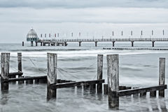 Baltic Sea at Zingst with pier and breakwaters Royalty Free Stock Photos