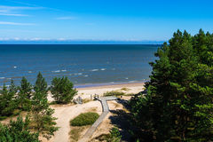 Baltic seashore on summer in Kolka, Latvia Royalty Free Stock Photography