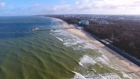 The Baltic seashore in winte stock video footage