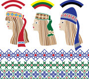 Baltic set of stencil. Baltic girls in national headdresses and patterns Lithuania, Latvia, Estonia vector illustration