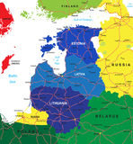 Baltic states map. Highly detailed vector map of the Baltic states with administrative regions,main cities and roads Stock Image