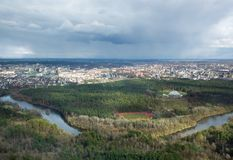 Baltic states.Panoramic view of Vilnius, Lithuania in the spring. Beautiful Vilnius in evening light. Nice panoramic cityscape Stock Images