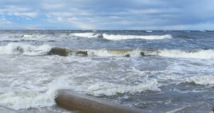 Baltic storm seascape - crushing water waves with white  foam stock video