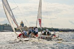 Baltic yacht week. Competitions yacht class J70 Royalty Free Stock Photography