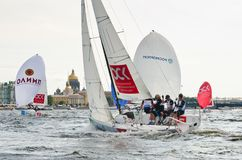 Baltic yacht week. Competitions yacht class J70 Royalty Free Stock Image