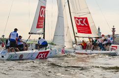 Baltic yacht week. Competitions yacht class J70 Stock Photography