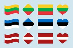 The Baltics flags vector set. Lithuania, Estonia, Latvia national flag collection. Flat isolated icons, traditional stock illustration