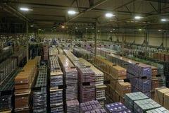 Baltika -圣彼德堡啤酒厂的完成的生产仓库 库存照片