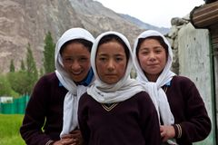 Baltimeisjes in Ladakh, India Stock Foto's