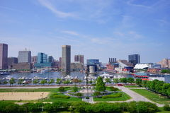 Baltimore city. Center inner Harbor scenic area and downtown stock images
